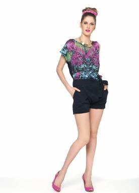 Blusa Malha Modal/Crepe Colorida