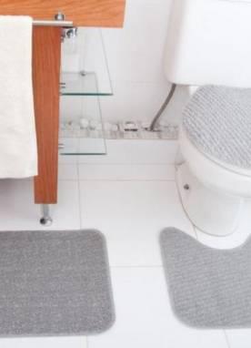 Jogo Tapete de Banheiro Relevo