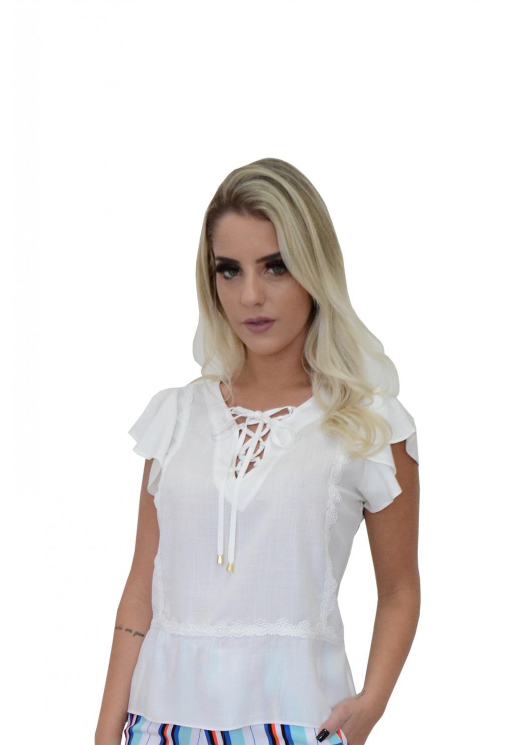 Blusa Mamorena decote amarração detalhe renda