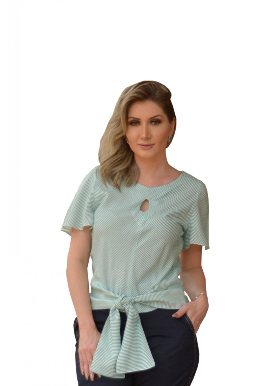 Blusa Mamorena decote gota e amarração barra