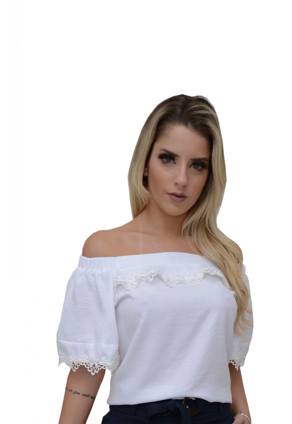 Blusa Mamorena ombro elástico com babado e renda