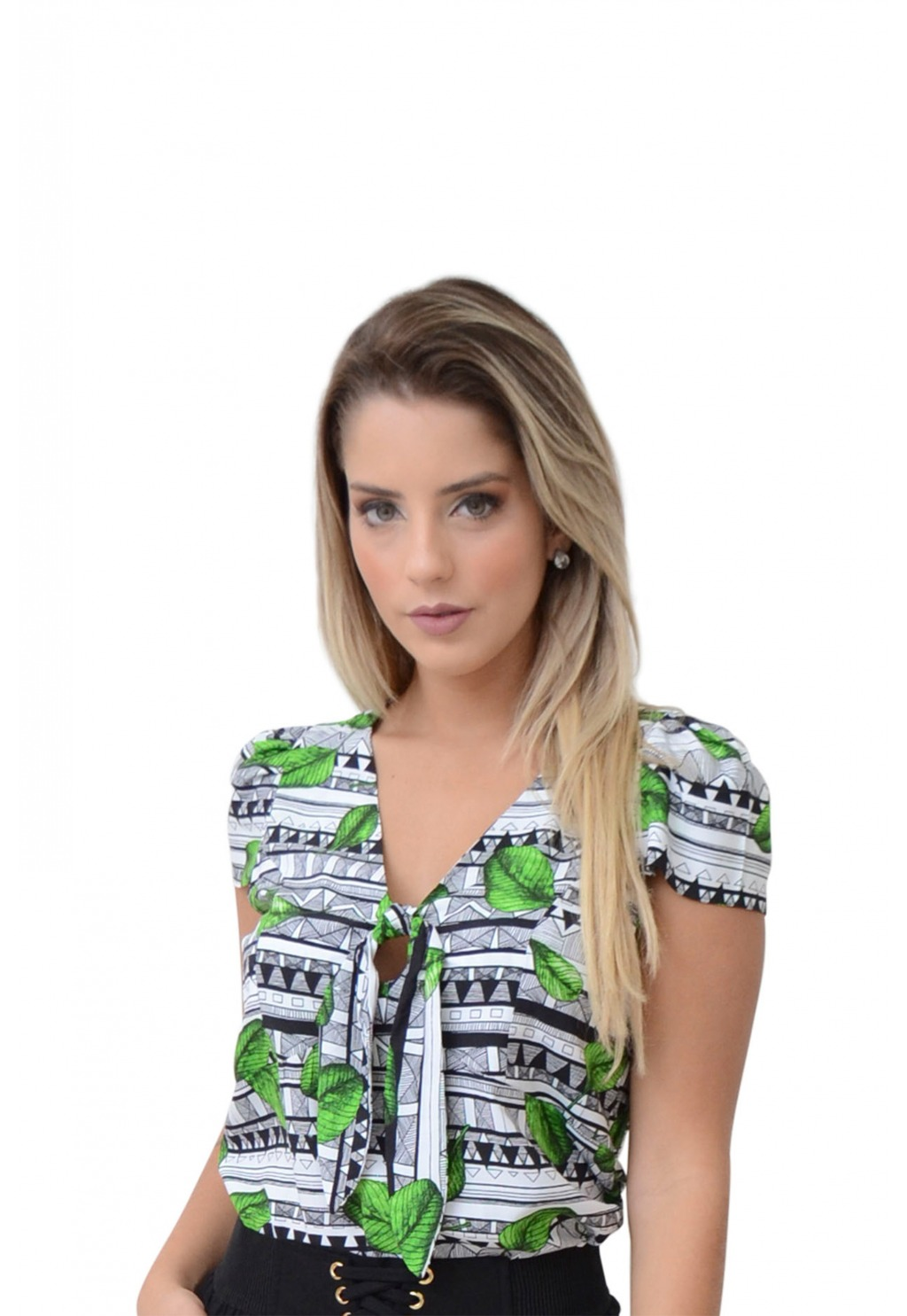 Blusa Mamorena manga curta com amarração decote