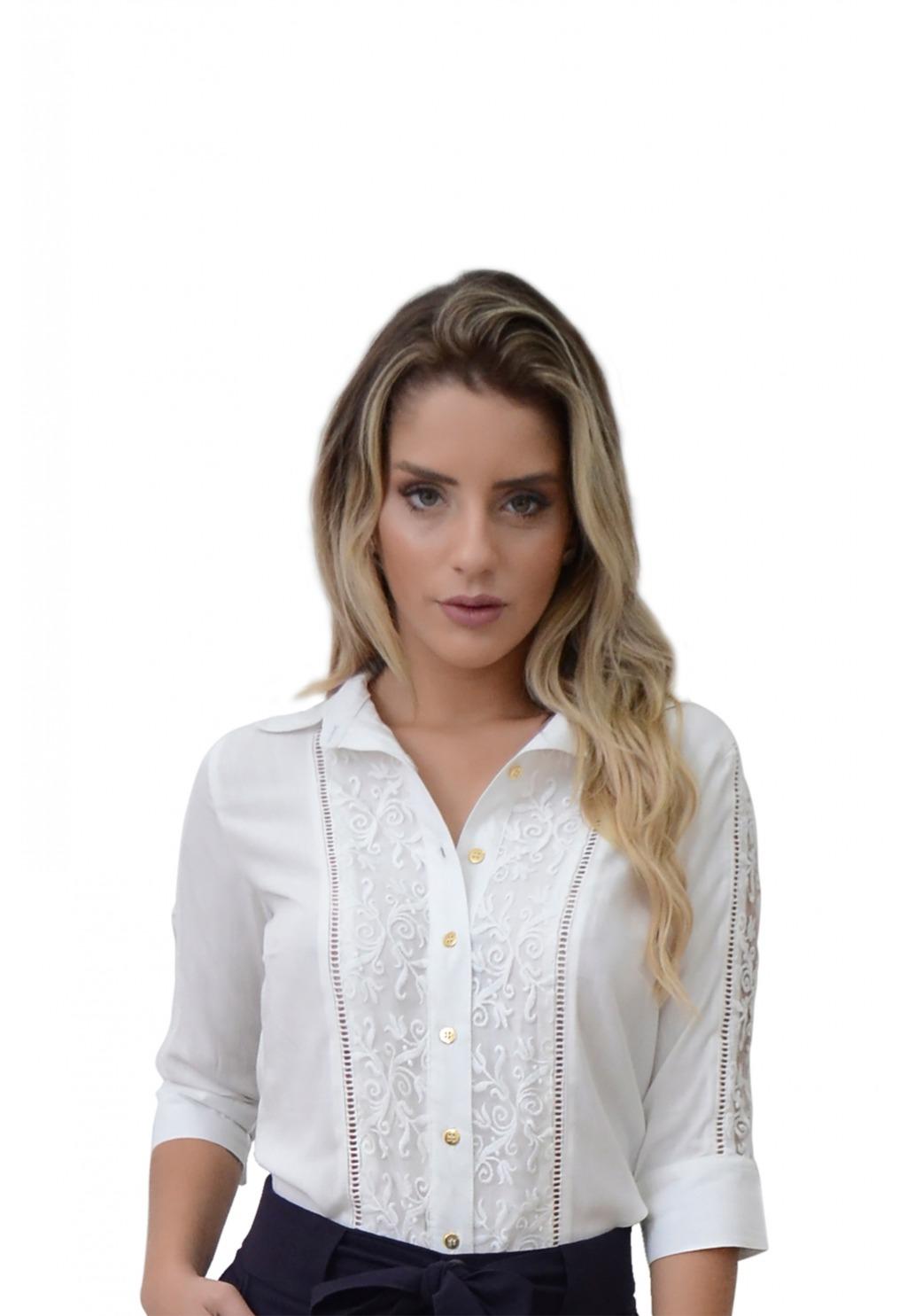 Camisa Mamorena renda guipir frente e mangas