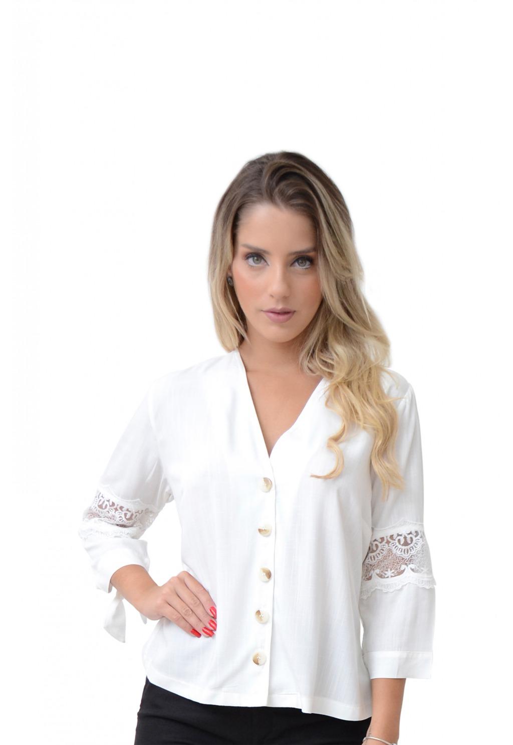 Camisa Mamorena manga com renda entremeio