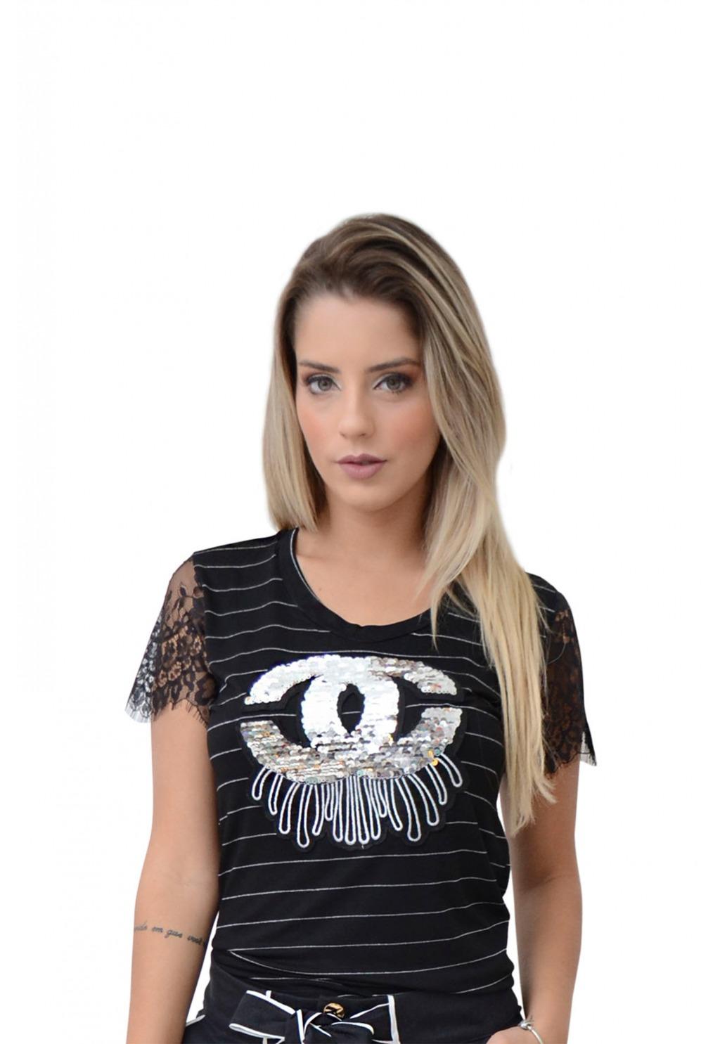 T-Shirt Mamorena aplique chanel listra