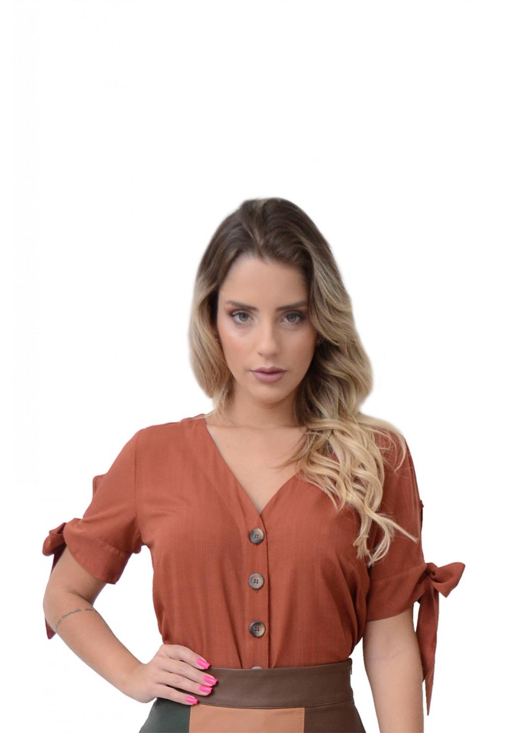 Camisa Mamorena decote V mangas amarração