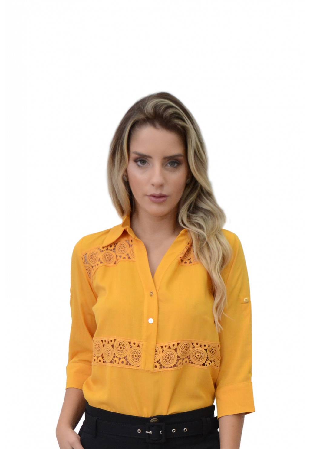 Camisa Mamorena manga 3/4 recorte renda