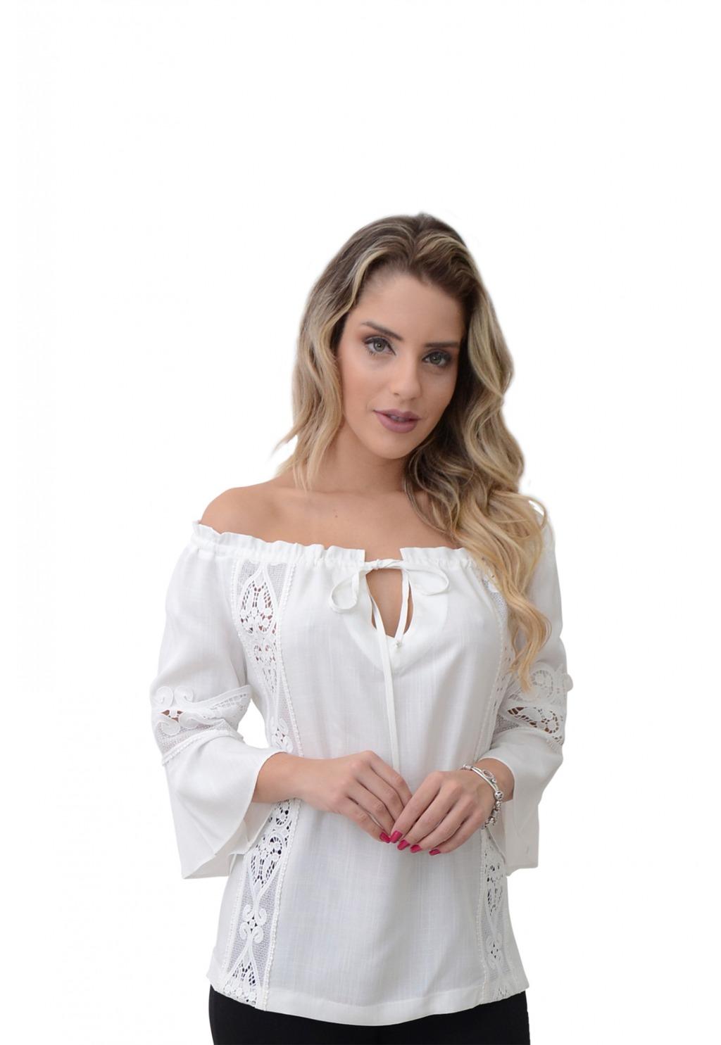 Blusa Mamorena ombro amarrar detalhe guipir