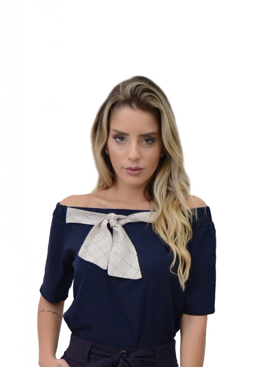 Blusa Mamorena ombro a ombro detalhe amarração