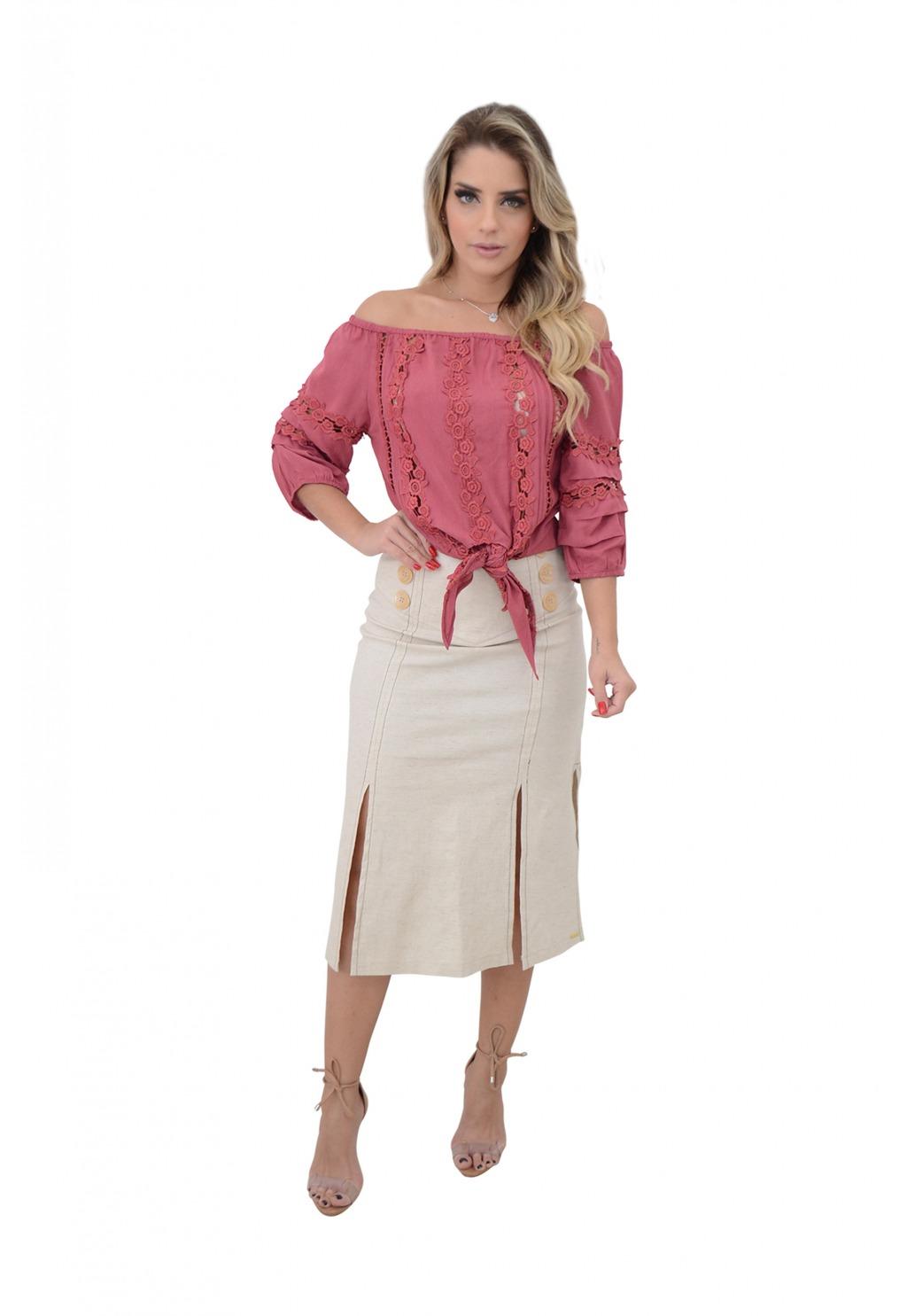Blusa Mamorena ombro a ombro detalhe guipir