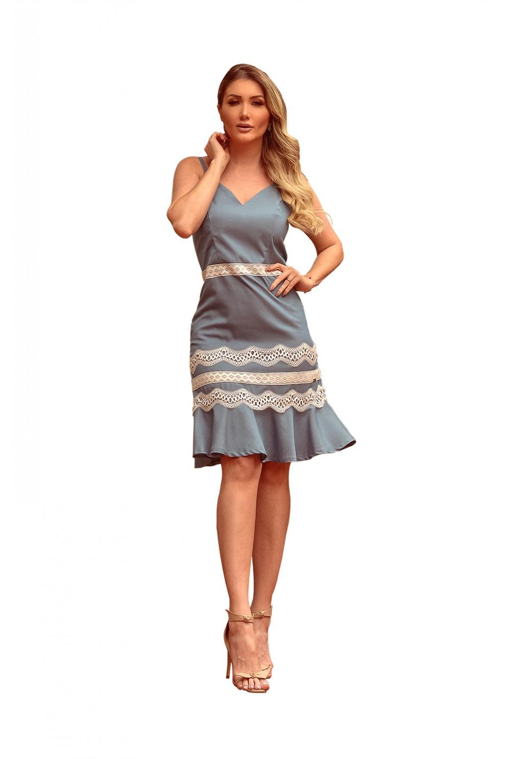Vestido Mamorena alcinha entremeios e peplum