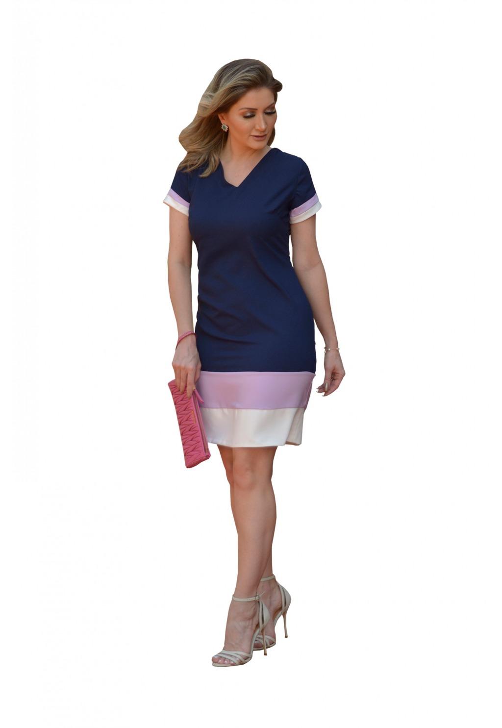Vestido Mamorena manga e barra bicolor