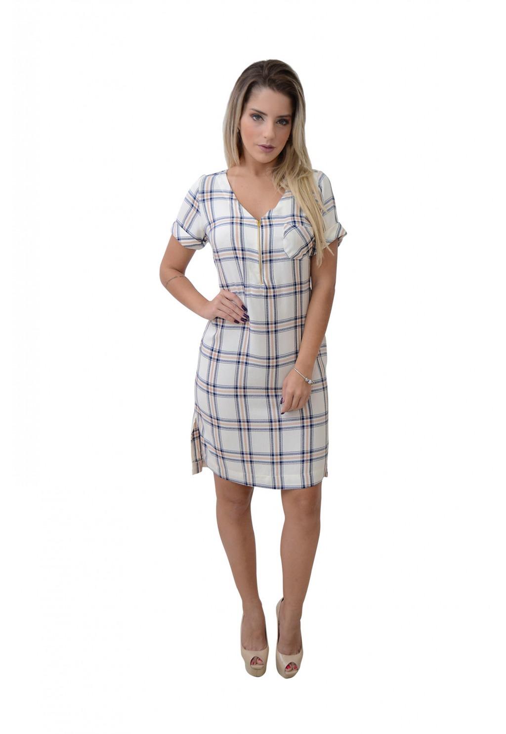 Vestido Mamorena xadrez zíper decote
