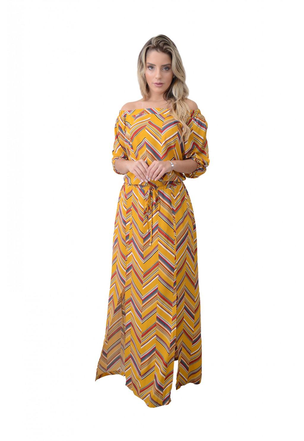 Vestido Mamorena longo com fendas