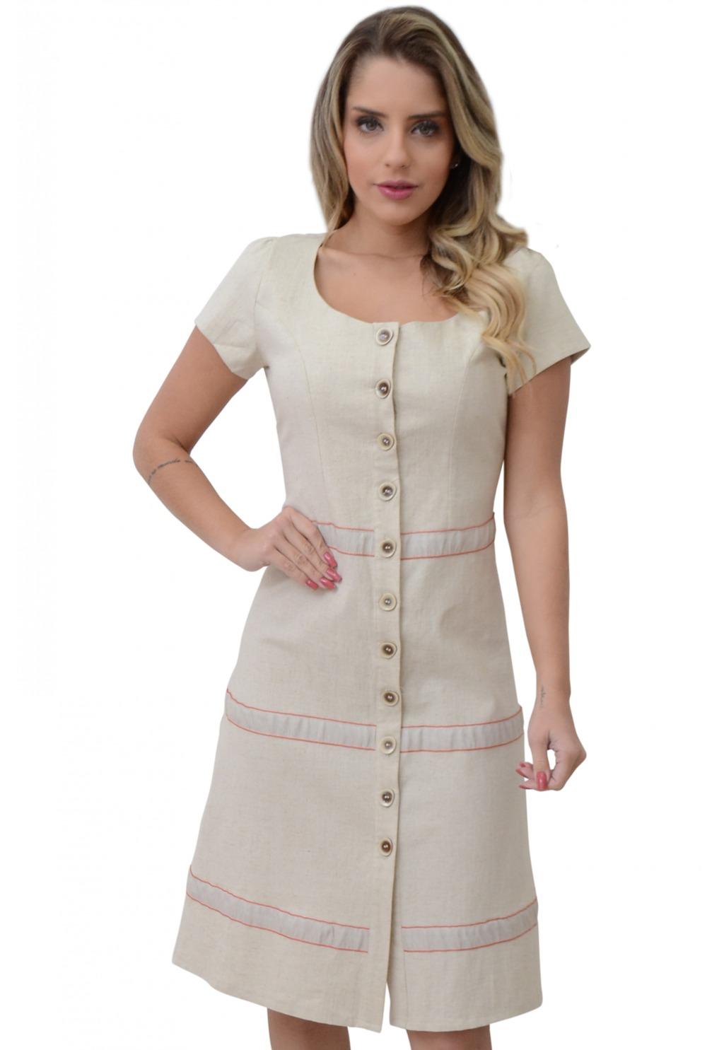 Vestido Mamorena linho manga curta recorte fita