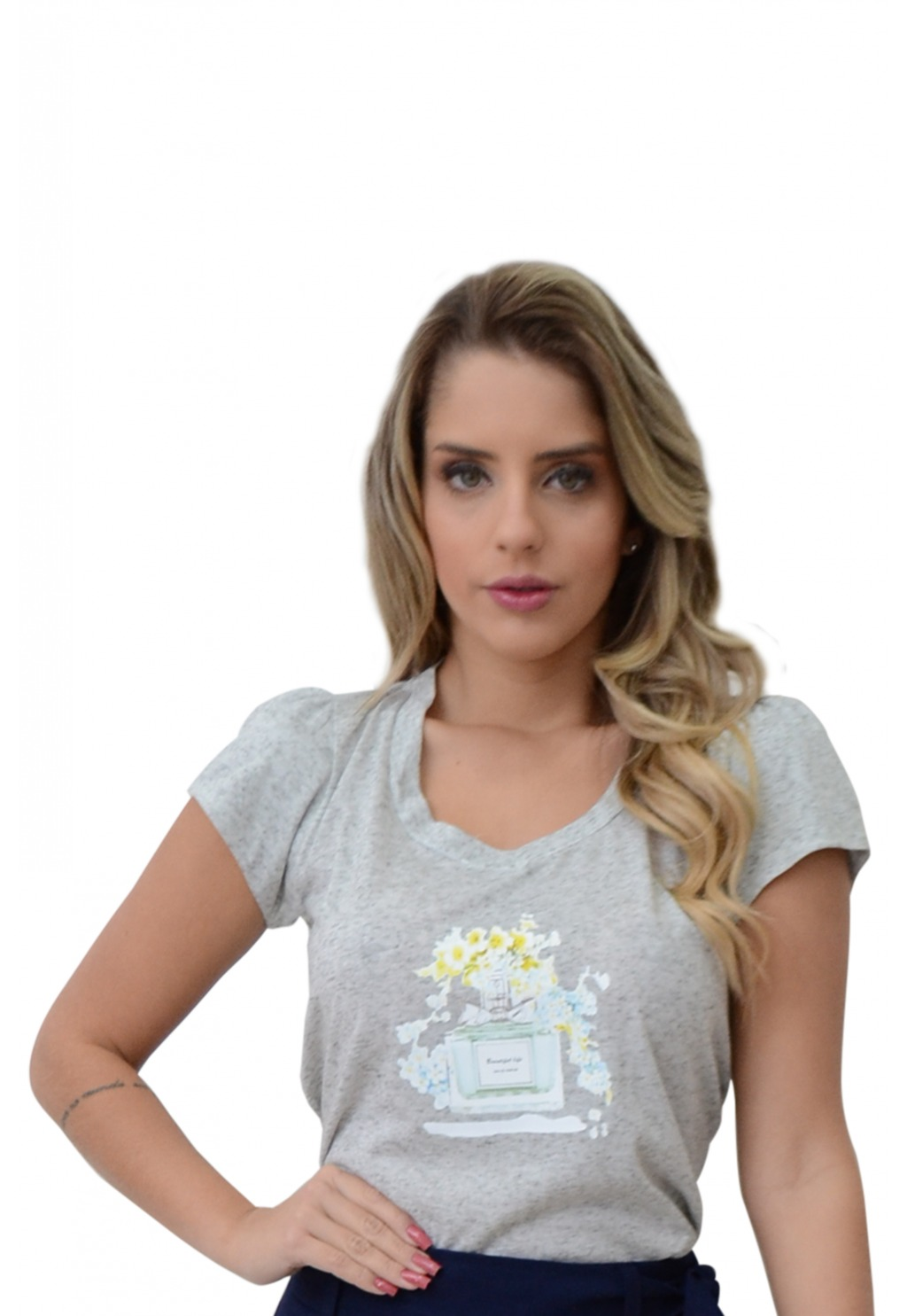 T-shirt Mamorena aplique perfume