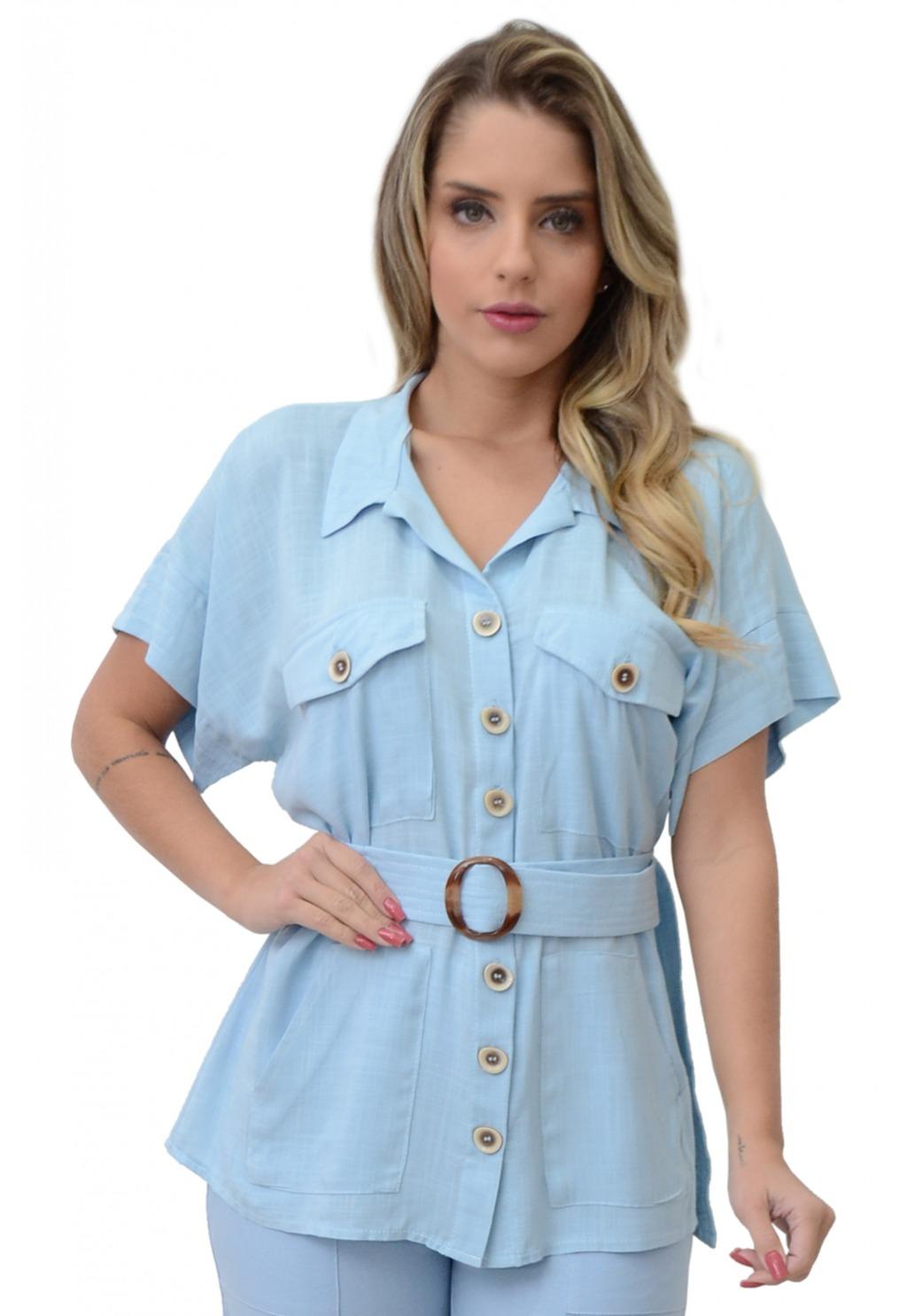 Camisa Mamorena com bolsos e faixa pespontada