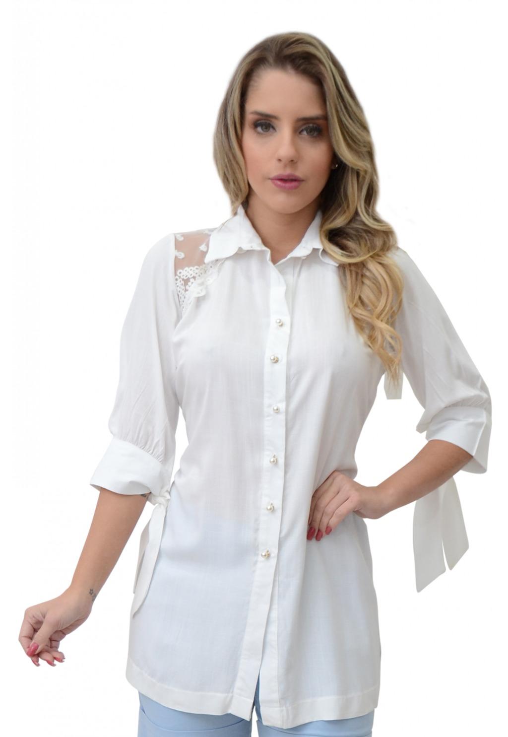 Camisa Mamorena recorte renda tule