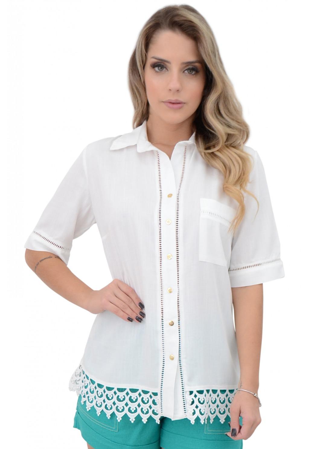 Camisa Mamorena 3/4 renda guipir barra
