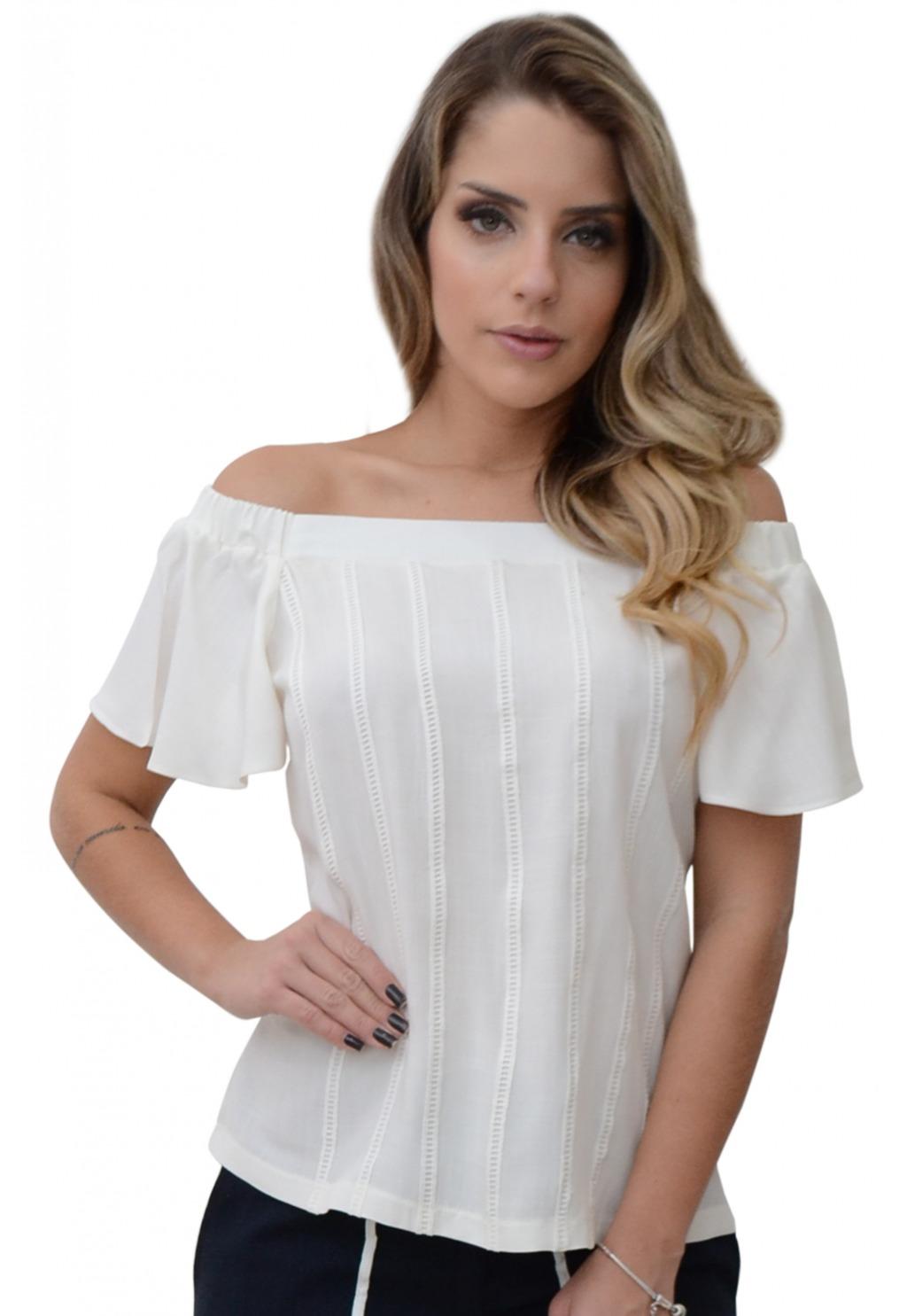 Blusa Mamorena ombro elástico frente ponto palito