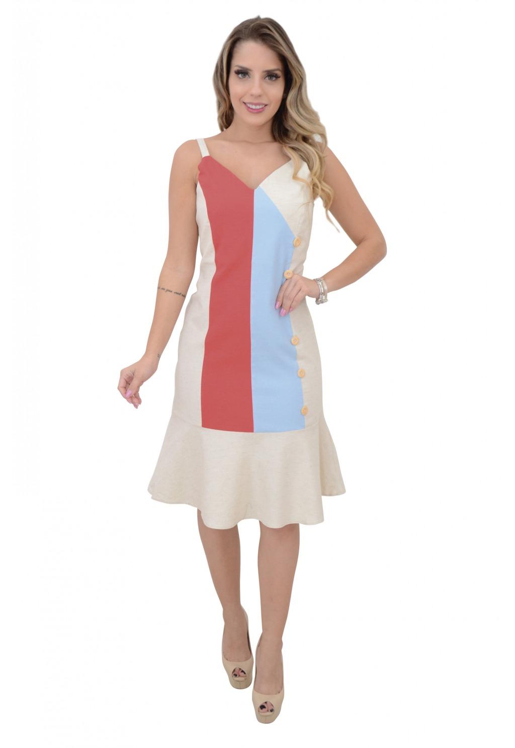 Vestido Mamorena alcinha linho tricolor