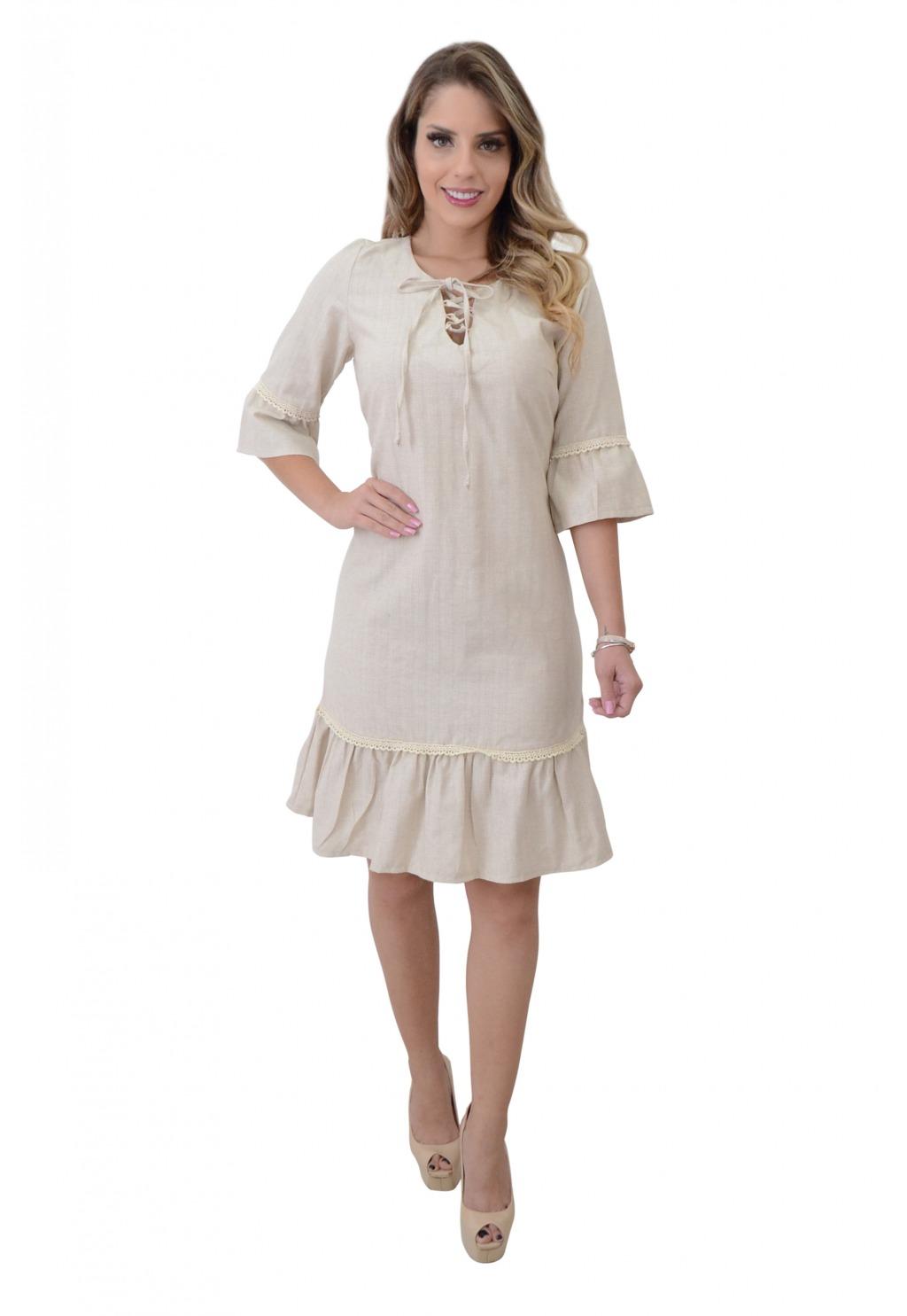 Vestido Mamorena opeplum com rendinha