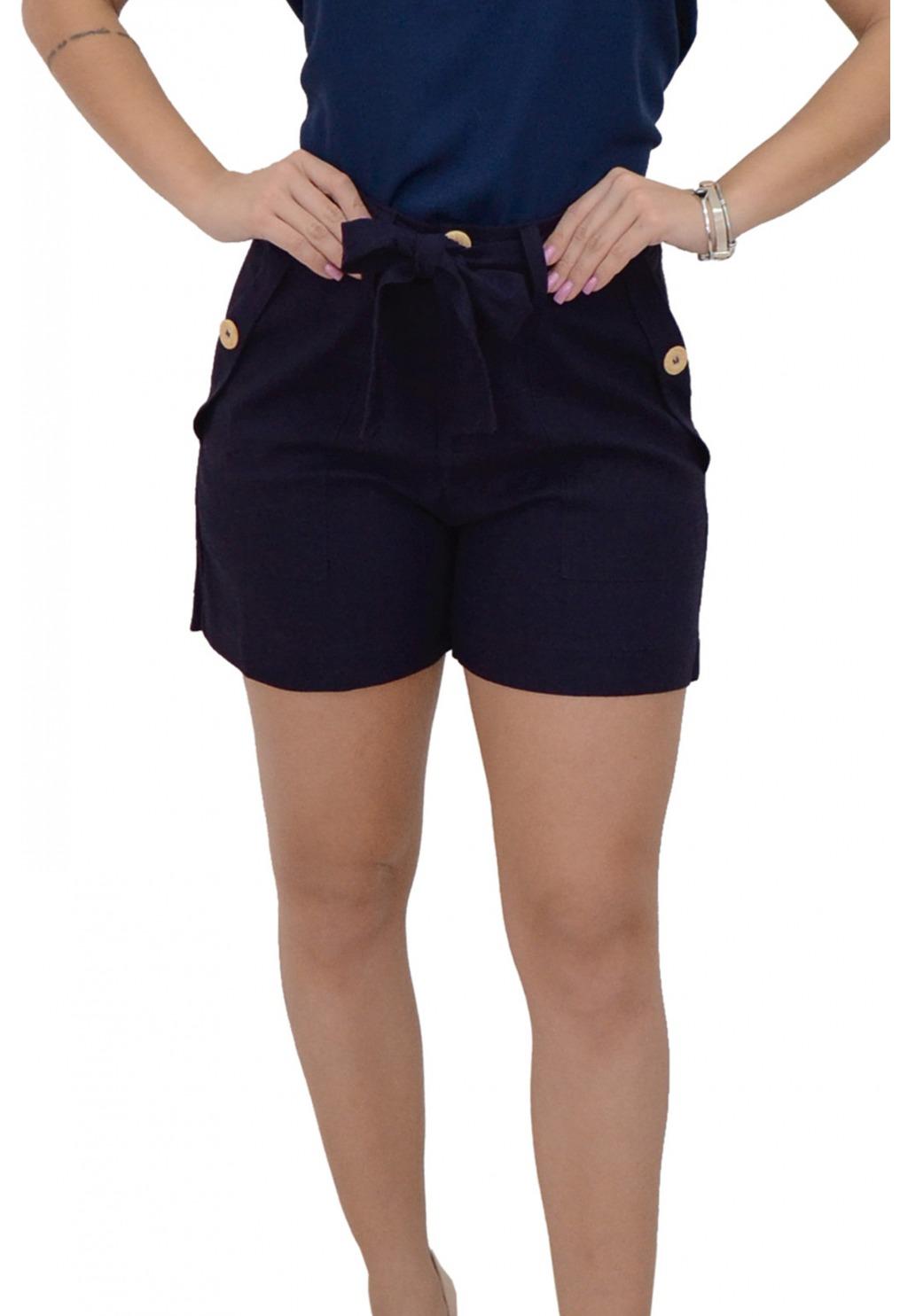 Short Mamorena com faixa detalhe bolsocom botão