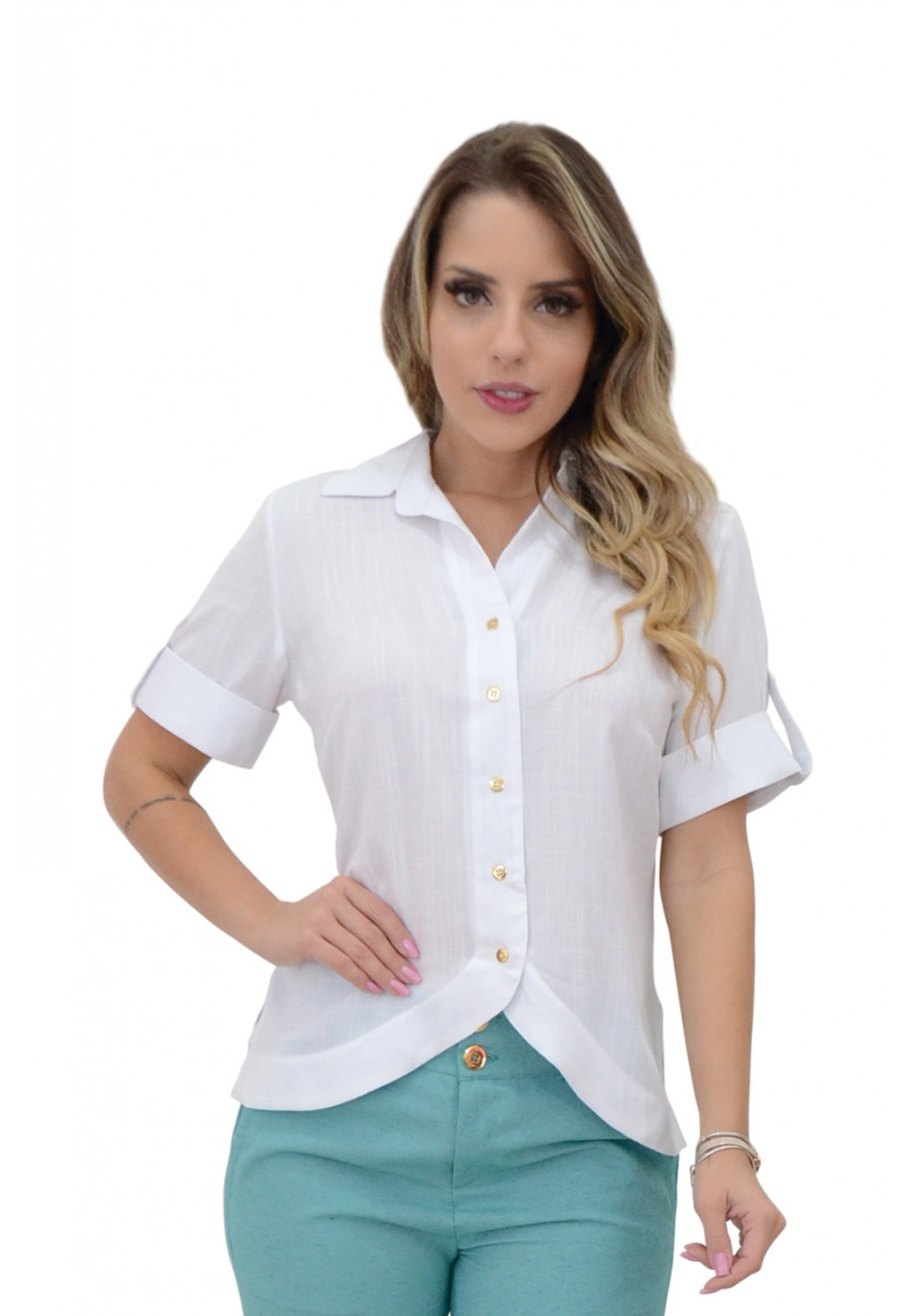 Blusa Mamorena camisa frente arredondada