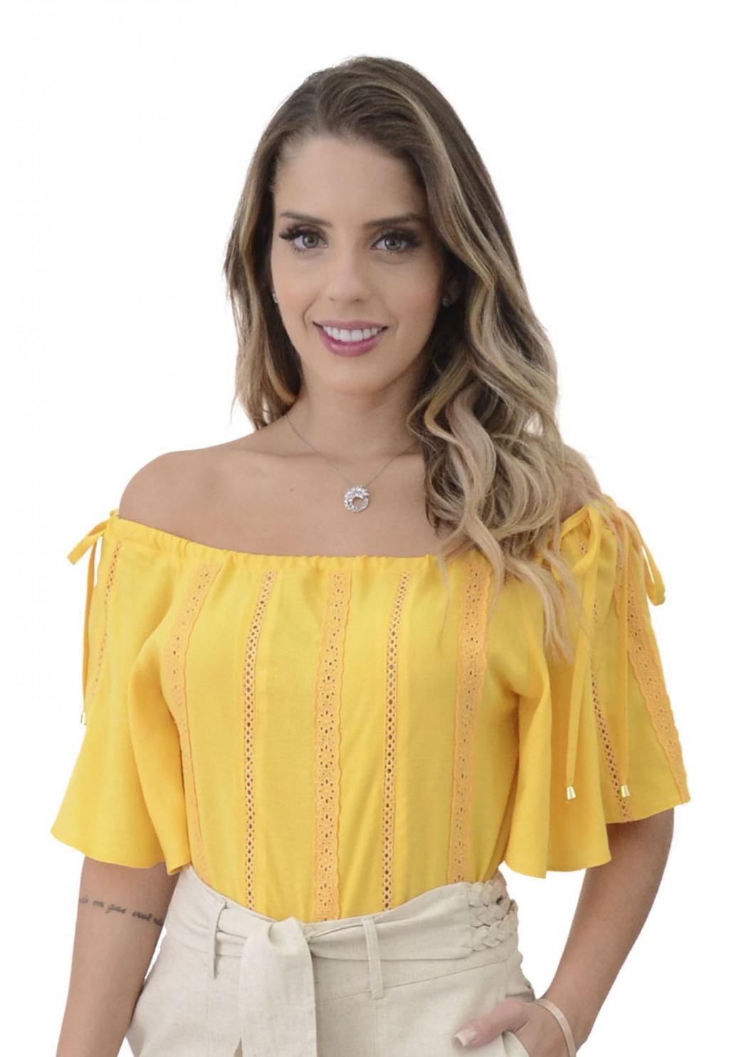 Blusa Mamorena ombro com amarraçã