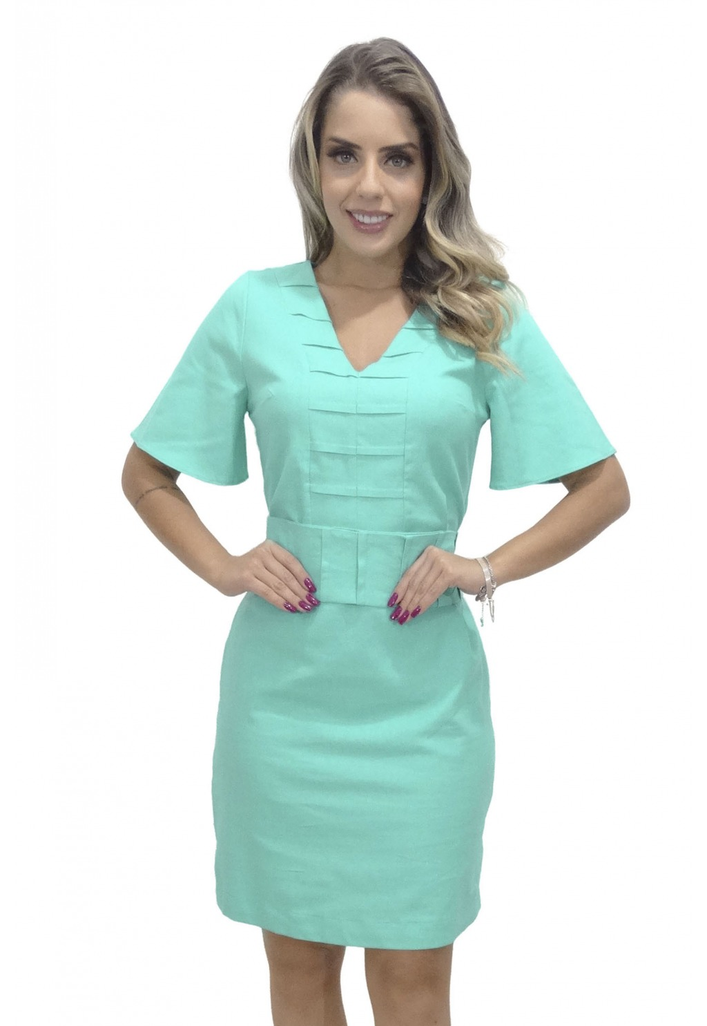 Vestido Mamorena recorte e faixa com pregas