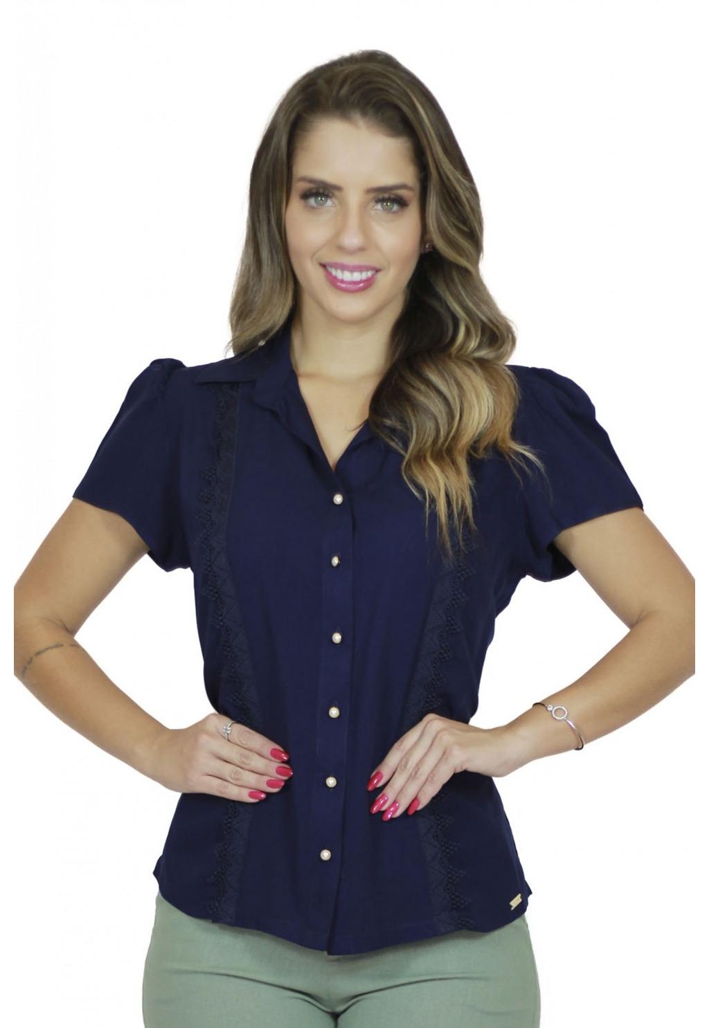 Camisa Mamorena manga curta detalhe em renda