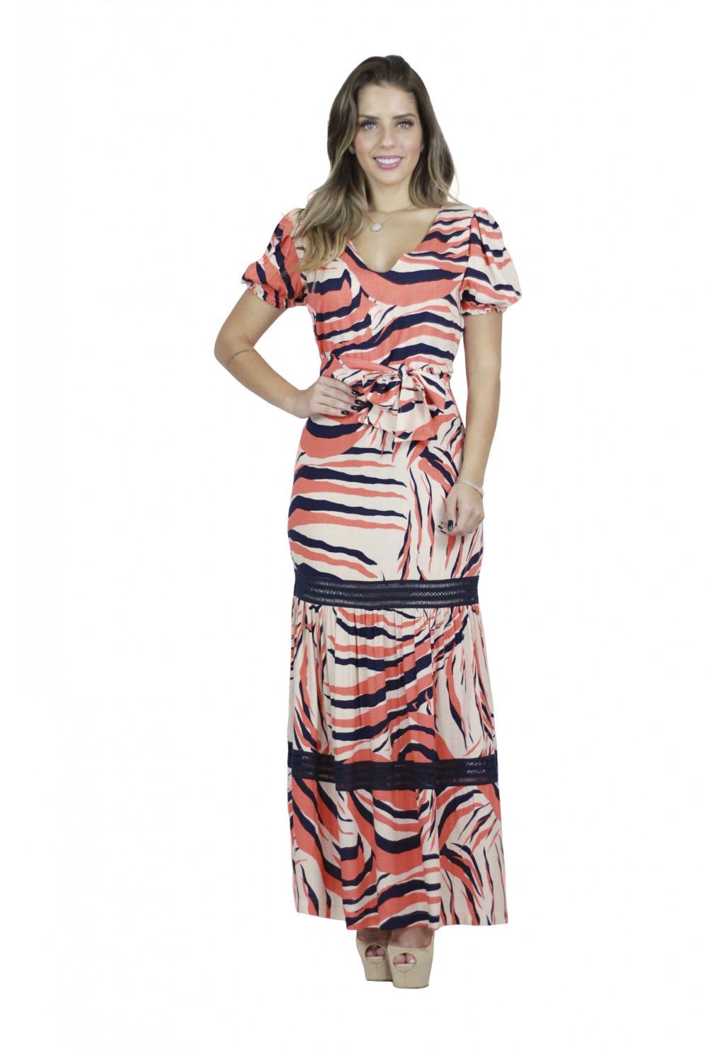 Vestido Mamorena longo com recorte e faixa
