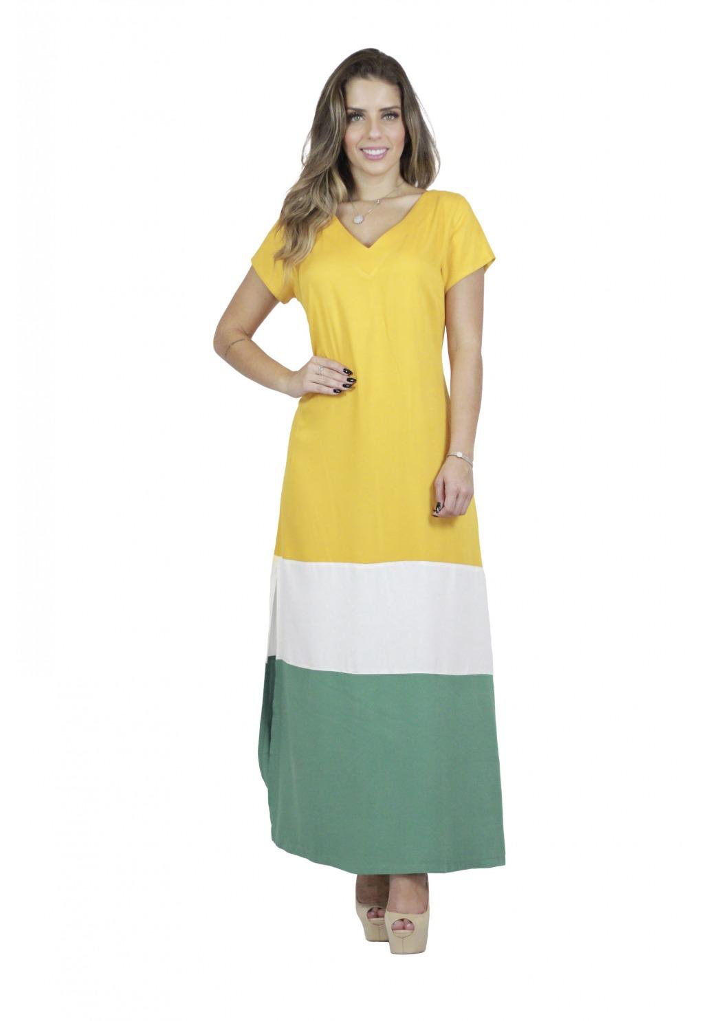 Vestido Mamorena longo tricolor