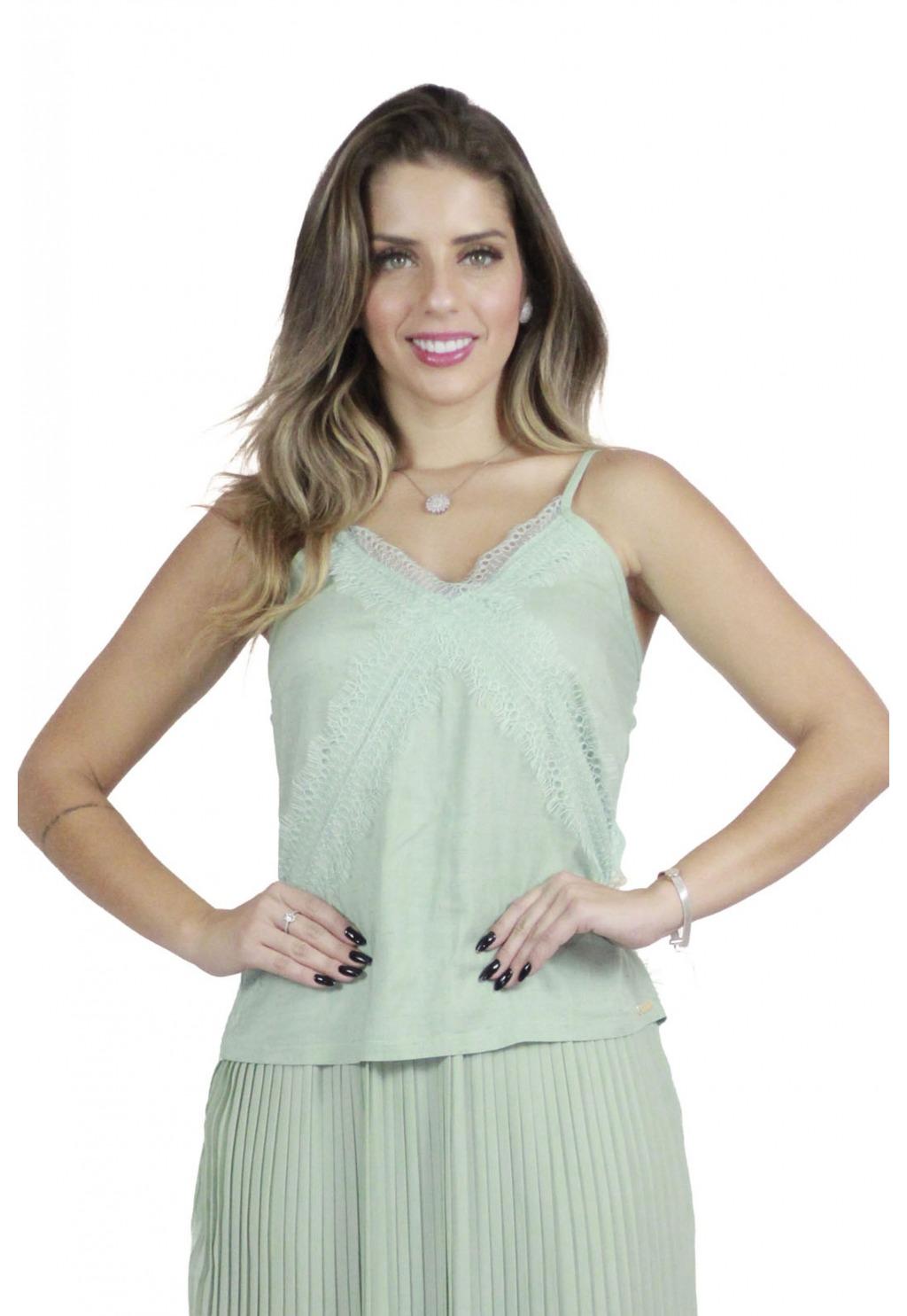 Blusa Mamorena de alcinha com detalhe em renda frente