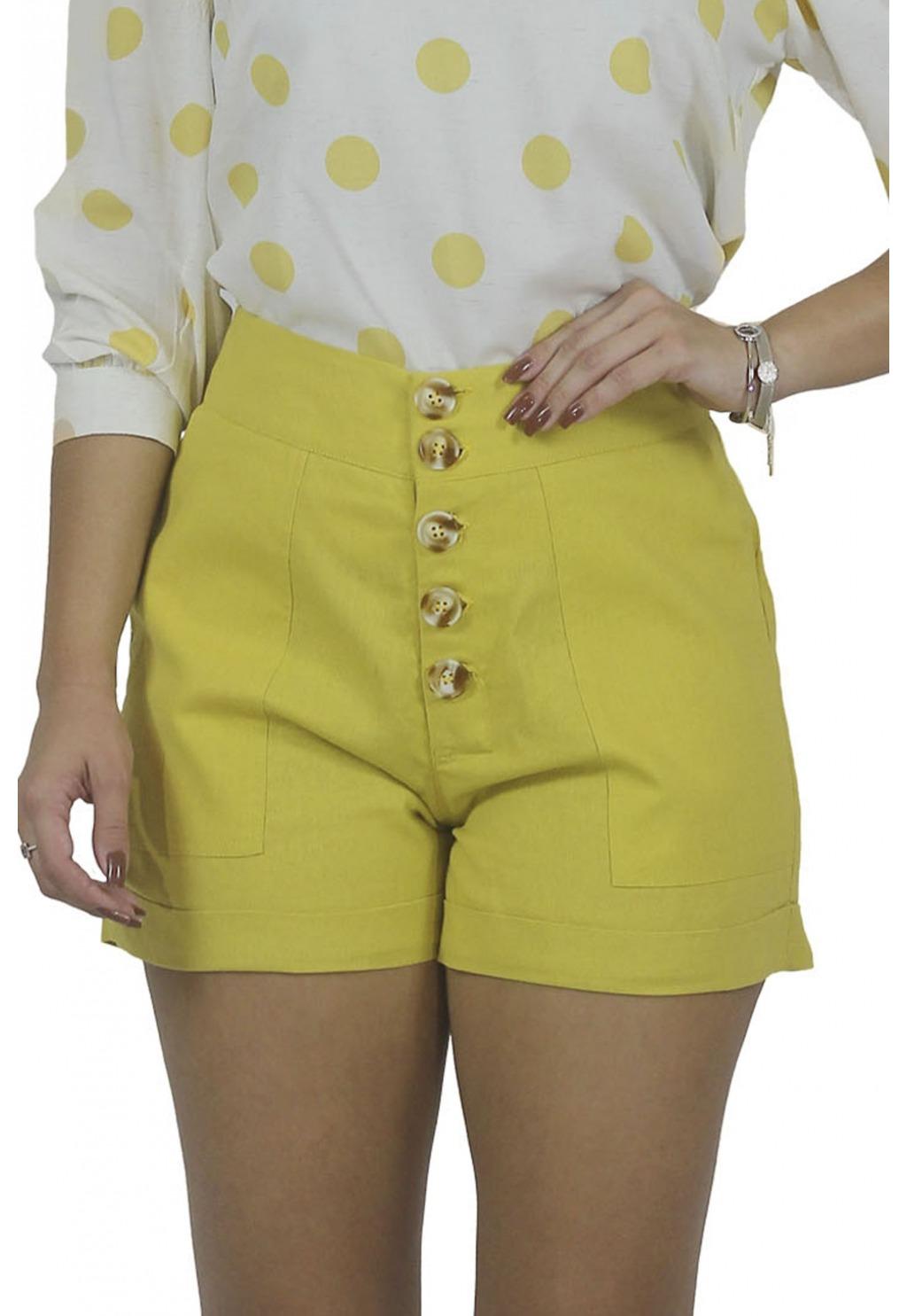 Short Mamorena linho com botões e barra italiana