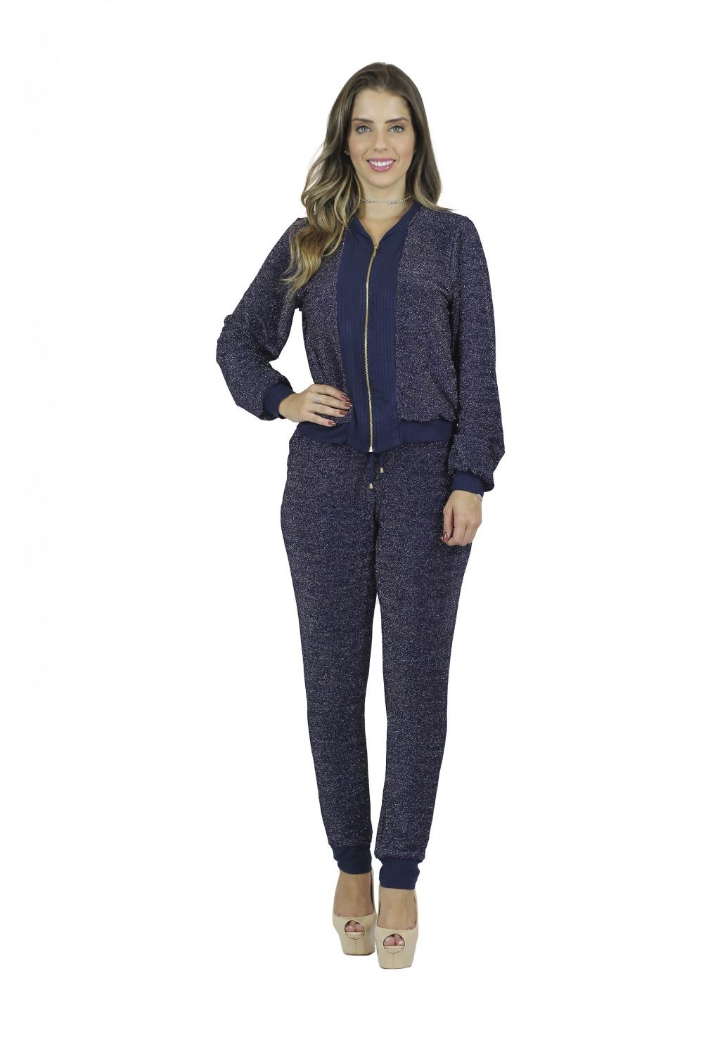Conjunto Mamorena calça e jaqueta lurex