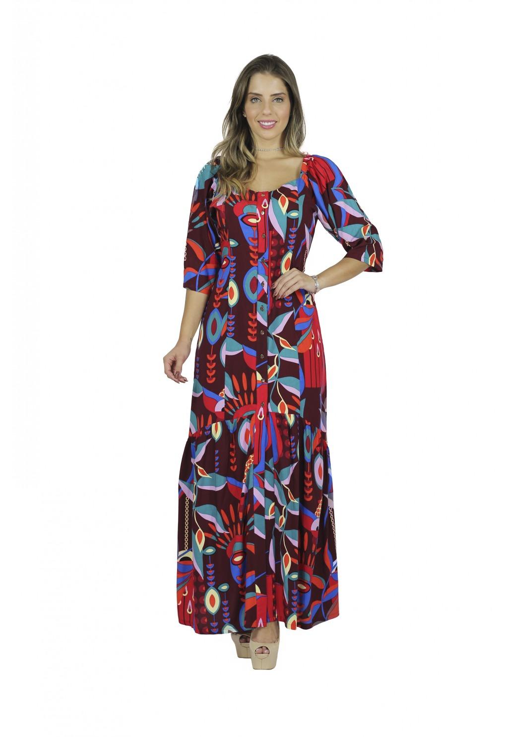 Vestido Mamorena longo estampado com manga franzida
