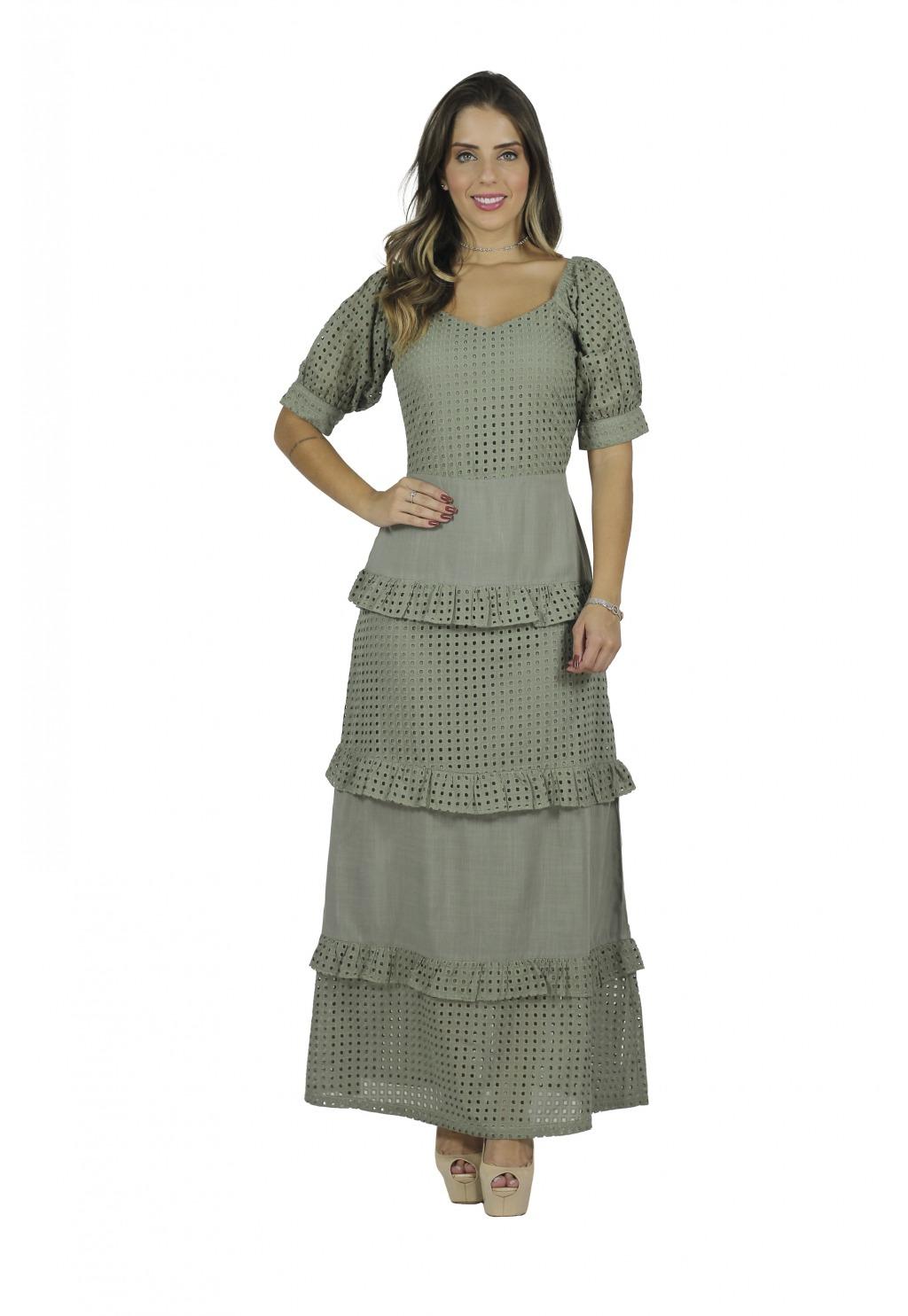 Vestido Mamorena longo laise com recortes e babadinhos