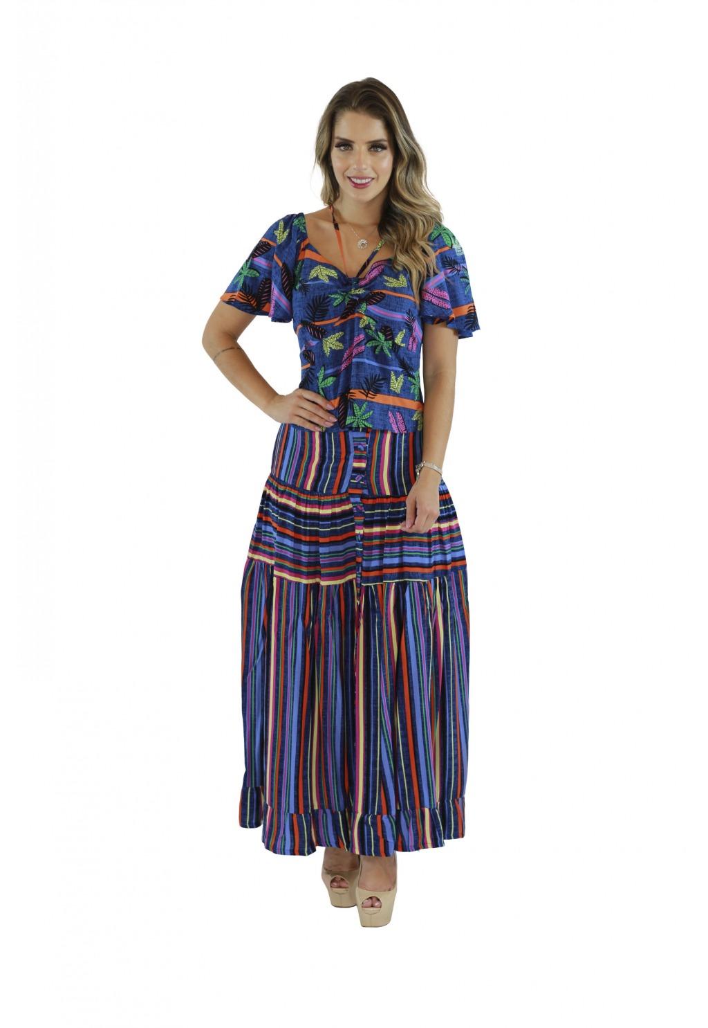 Conjunto Mamorena saia cropped e blusa