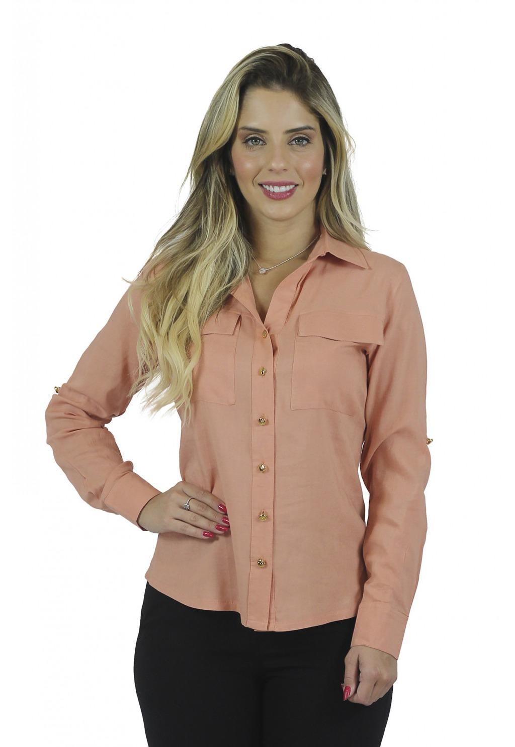 Camisa Mamorena manga longa com bolso e martingale