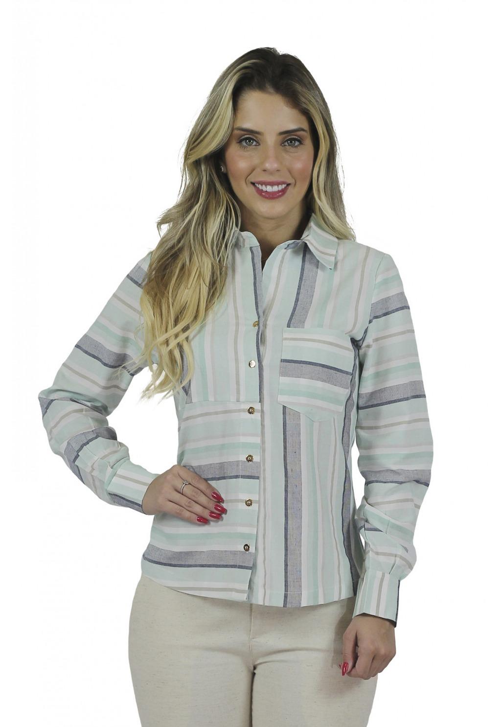 Camisa Mamorena tricoline listrada