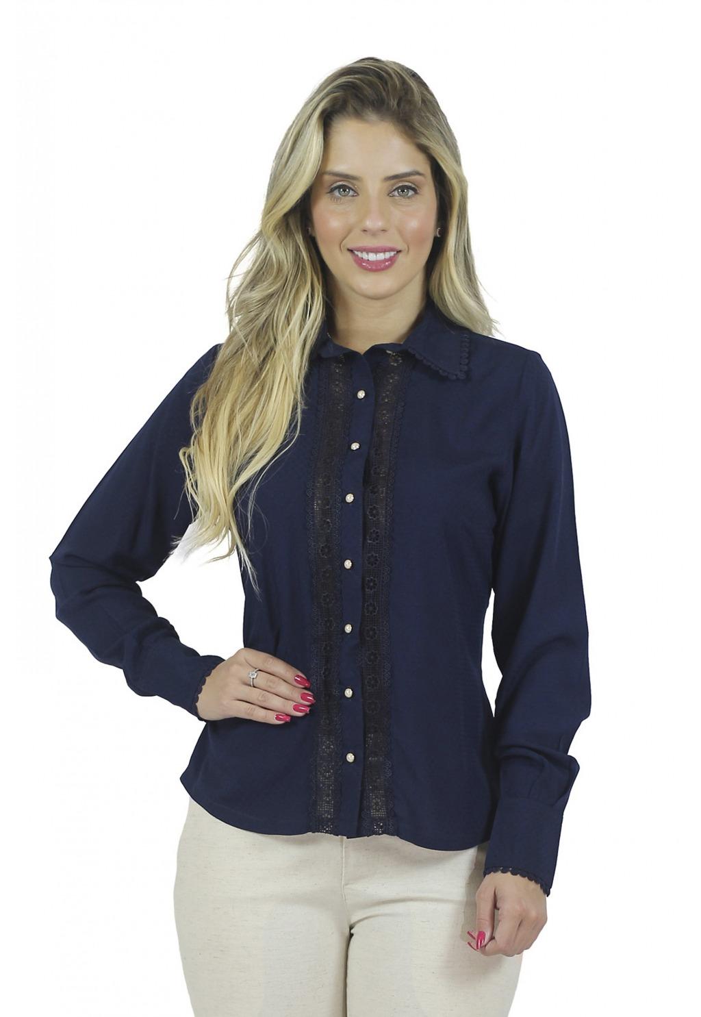 Camisa Mamorena renda gola e punhos