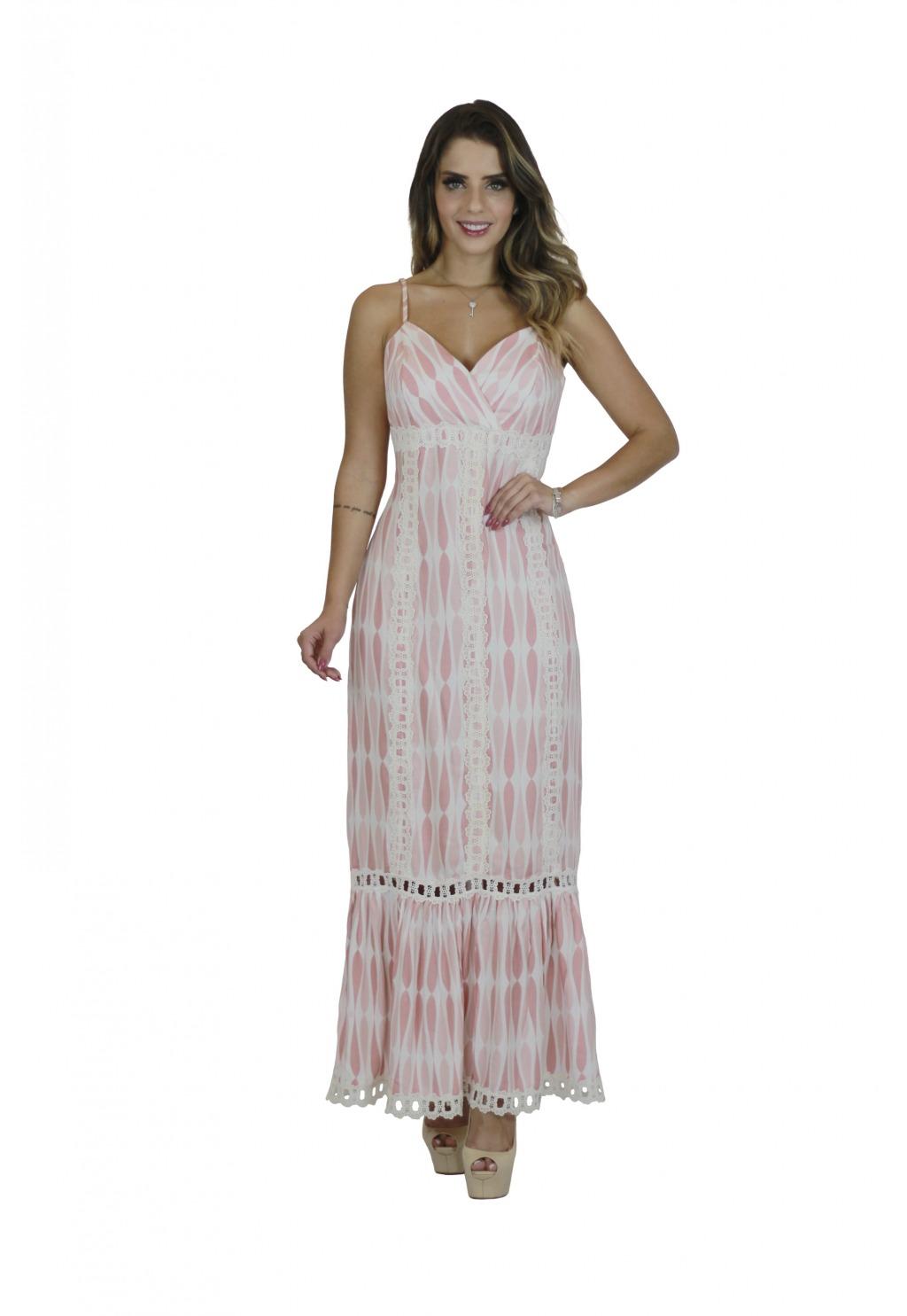 Vestido Mamorena longo alcinha decote transpassado