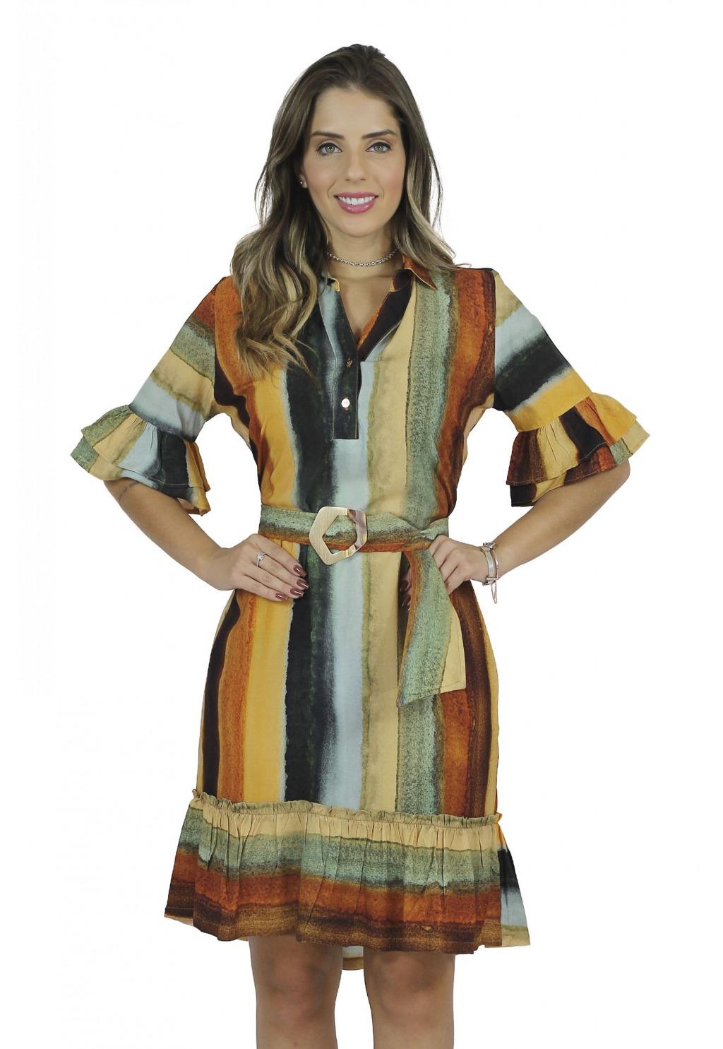 Vestido Mamorena estampado com faixa e fivela madrepérola