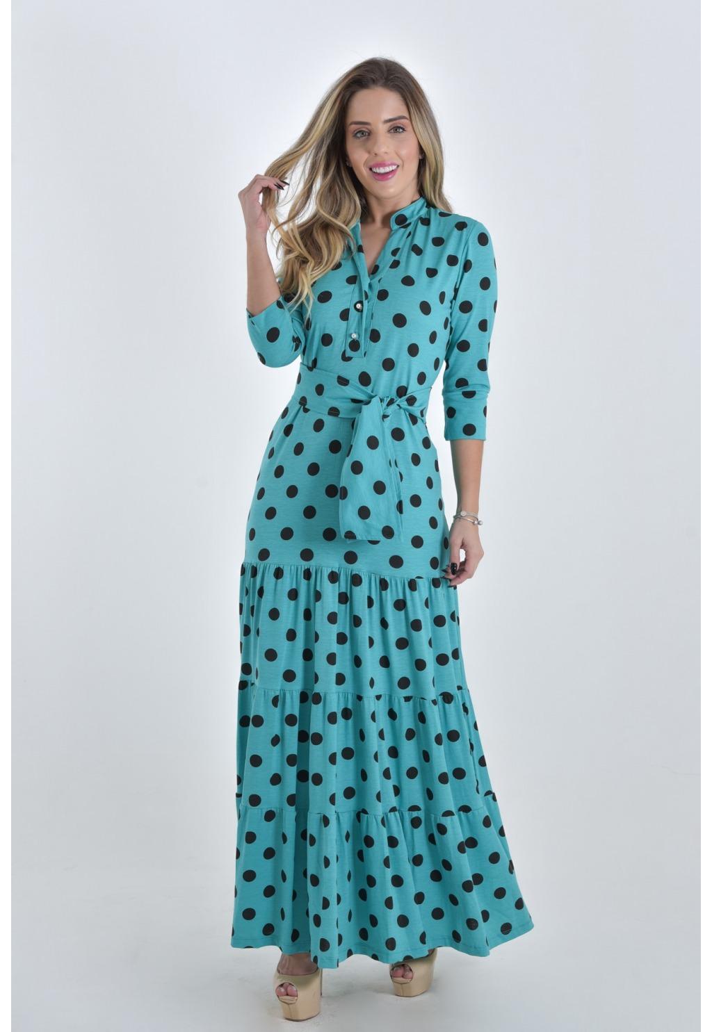 Vestido Mamorena longo viscolycra poá