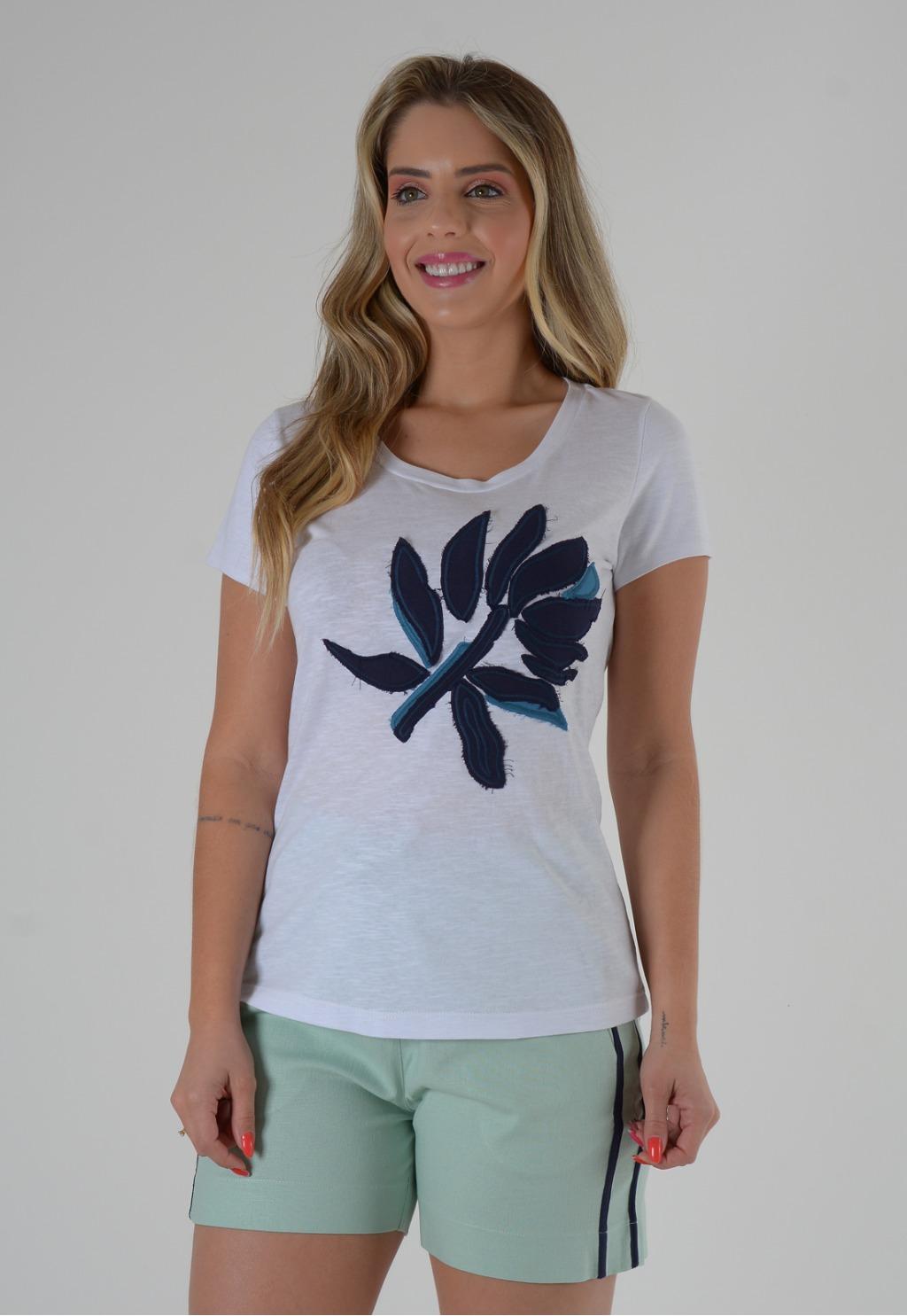 Blusa Mamorena t-shirt com bordado bicolor