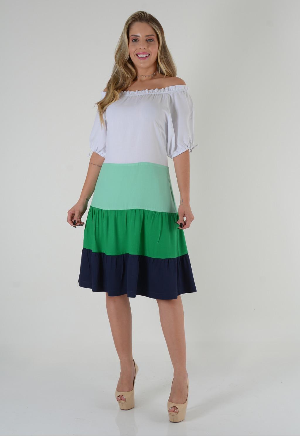 Vestido Mamorena ombro franzido colors