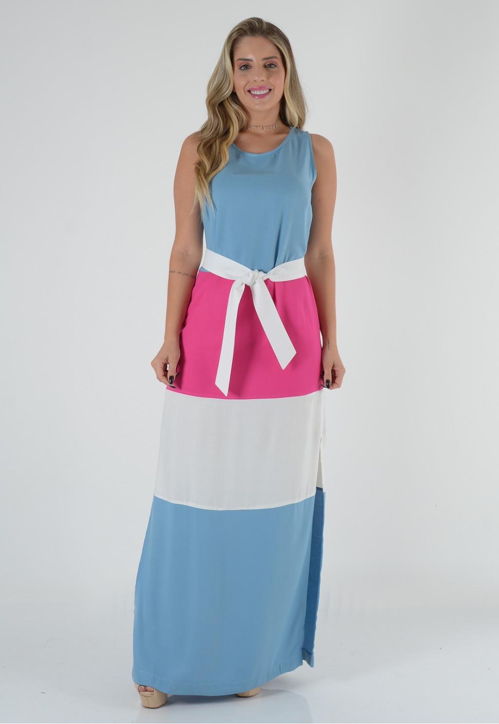 Vestido Mamorena longo cavado tricolor