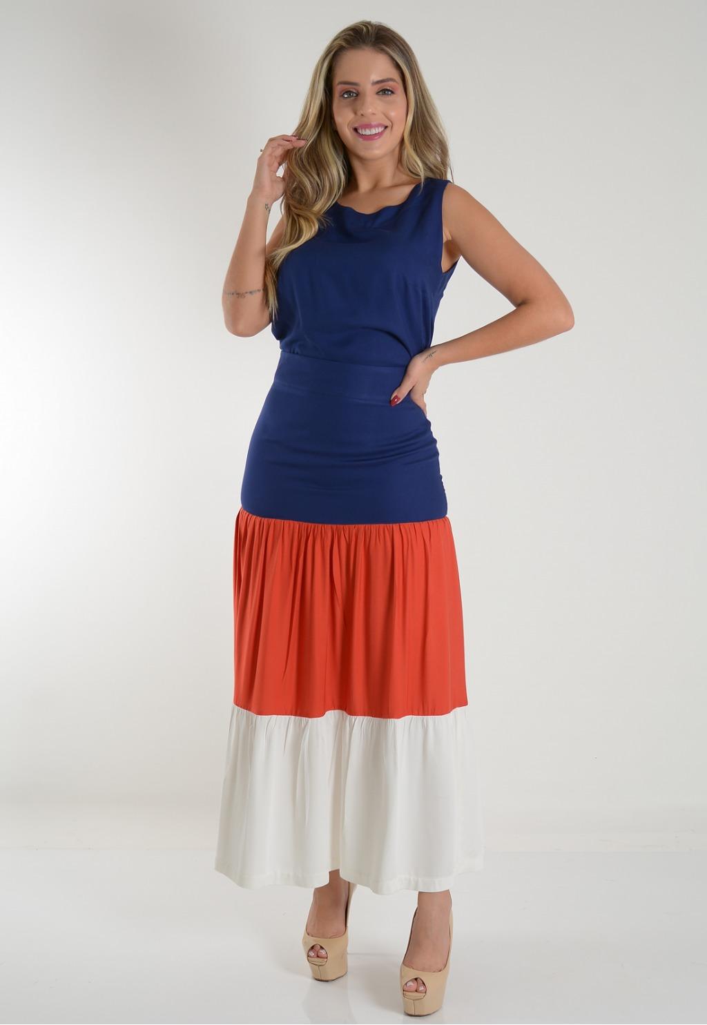 Conjunto Mamorena saia color blusa cavada