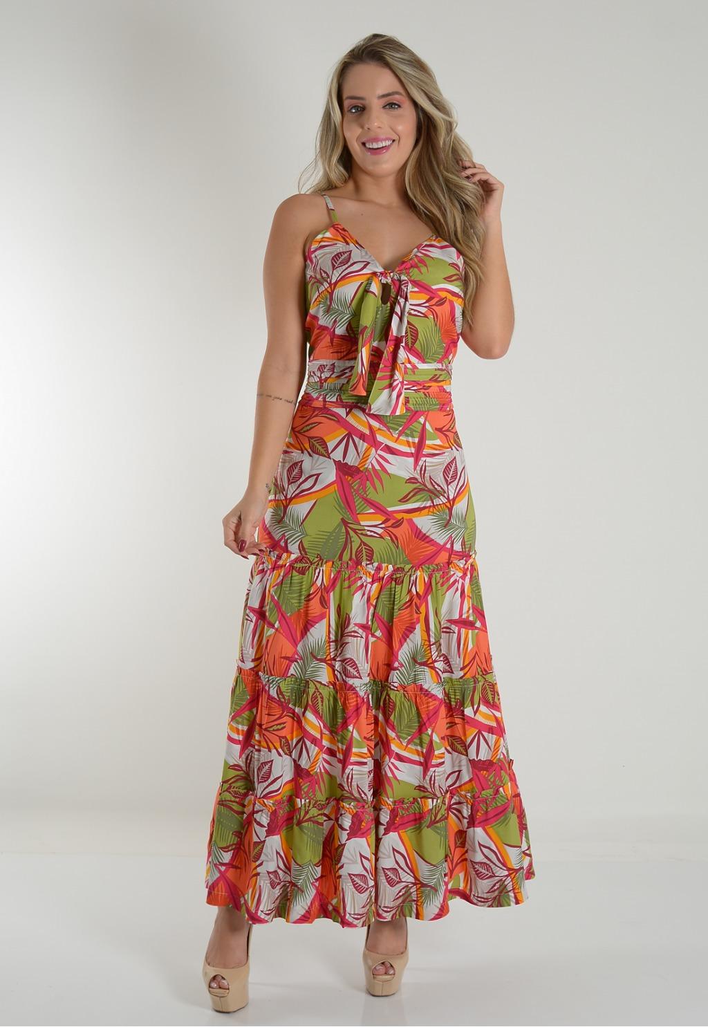 Vestido Mamorena longo alcinha com cintura pregas
